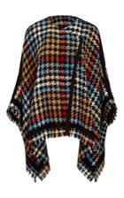 Etro Houndstooth Tweed Fringed Cape