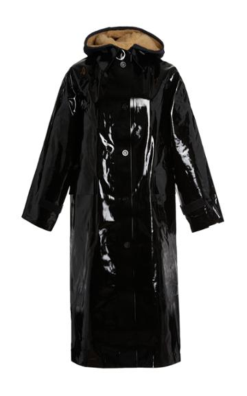 Kassl Shearling-lined Lacquered Cotton-blend Raincoat