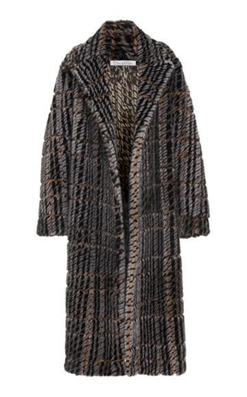 Oscar De La Renta Tweed-trimmed Mink Fur Coat