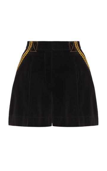 Marianna Senchina Velvet High Waisted Shorts
