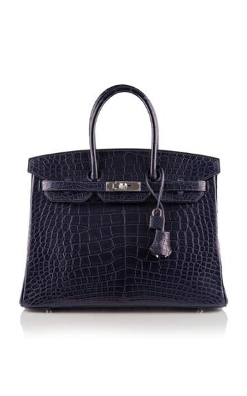 Madison Avenue Couture Hermes 35cm Blue Marine Matte Alligator Birkin