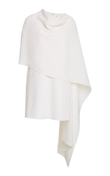 Oscar De La Renta Crepe De Chine Caped Dress