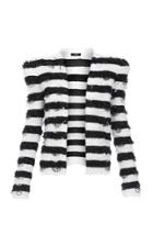 Moda Operandi Balmain Fringed Striped Tweed Collarless Jacket Size: 36