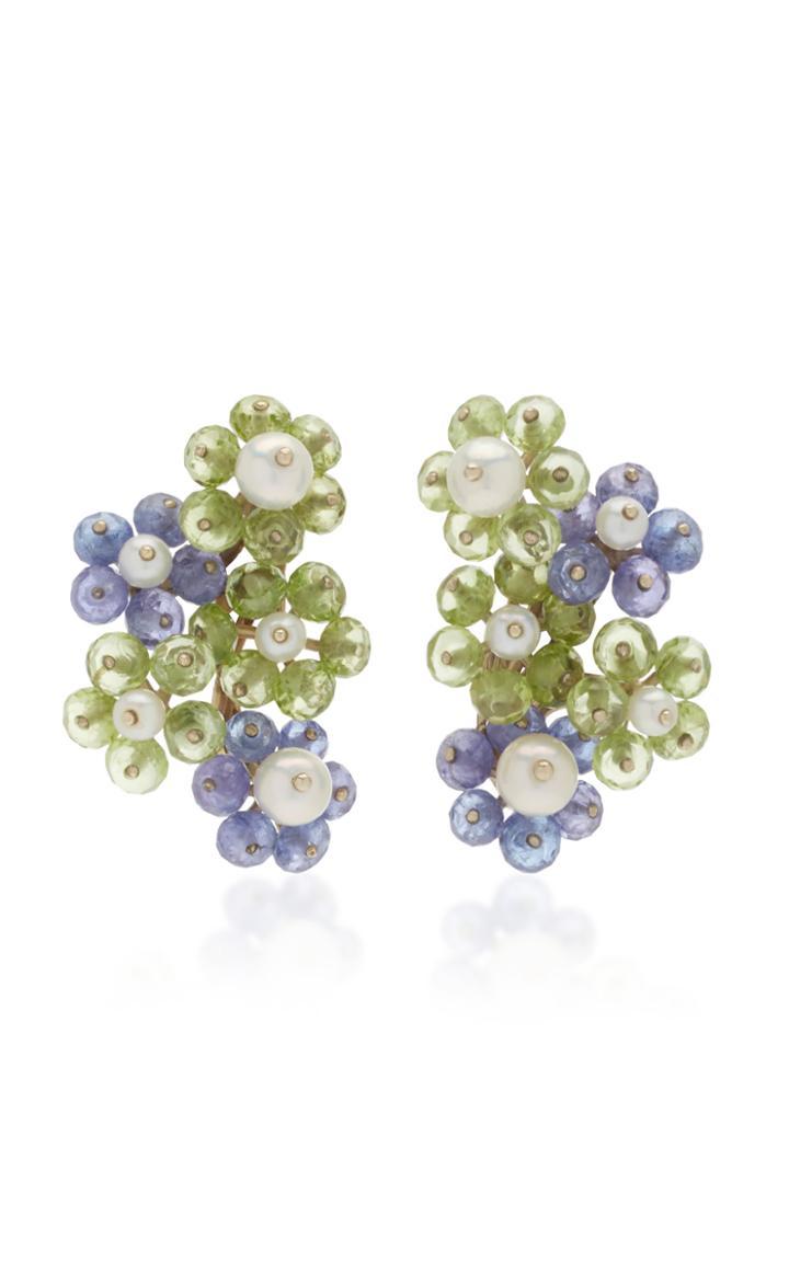 Sorab & Roshi 18k White Gold Multi-stone Flower Cluster Earrings