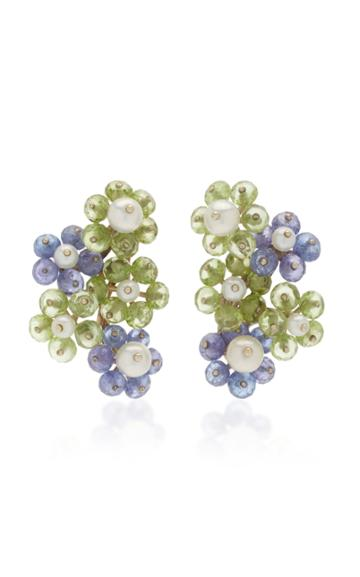 Sorab & Roshi 18k White Gold Multi-stone Flower Cluster Earrings