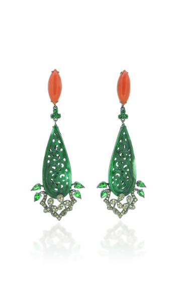 Wendy Yue 18k Green Jade And Coral Earrings