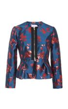 Carolina Herrera Zip-detailed Satin-jacquard Peplum Jacket