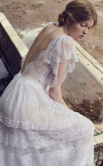 Costarellos Bridal Neoromantic Angel Sleeve Tiered Tulle Dress