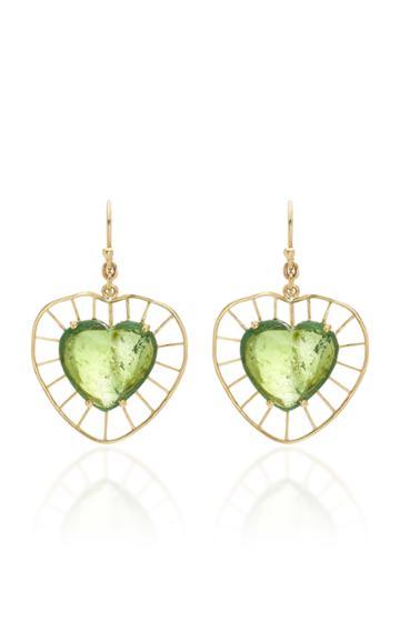 Christina Alexiou Green Tourmaline Heart Earrings