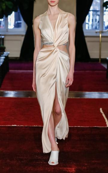 Moda Operandi Marina Moscone Gathered Satin Midi Dress With Crystal Trim Embellishme