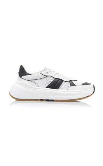 Bottega Veneta Two-tone Mesh, Leather And Rubber Sneakers