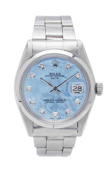 Vintage Watches Rolex Date Ice Blue Pearlized Diamond Dial