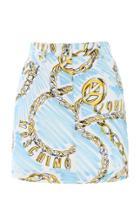 Moschino Chaint Print Denim Skirt
