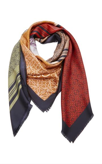 Loewe Anagram Silk-twill Scarf