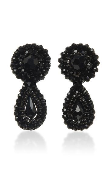 Moda Operandi Erdem Glass Crystal Beaded Tier Drop Clip On Earrings