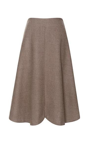 Preorder Rodarte Tan Doubleface Wool Gored Skirt