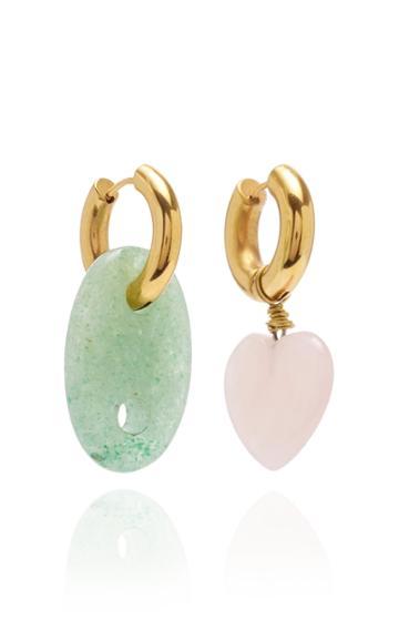 Timeless Pearly Quartz & Jade Charm Earrings