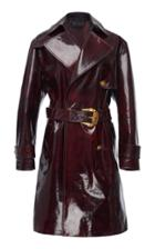 Versace Belted Leather Coat