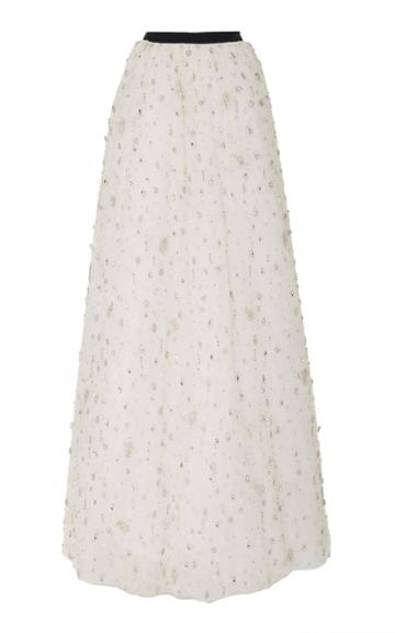 Brandon Maxwell Crystal Embroidered Ball Skirt