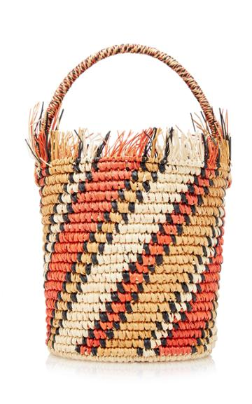 Sensi Studio Striped Straw Mini Bucket Bag