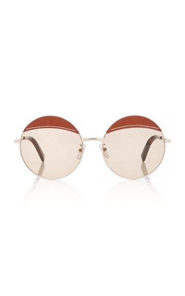 Loewe Sunglasses Round Leather-trimmed Metal Sunglasses
