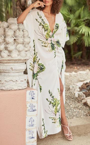 Moda Operandi Monique Lhuillier Bouquet Printed Crepe Caftan Dress