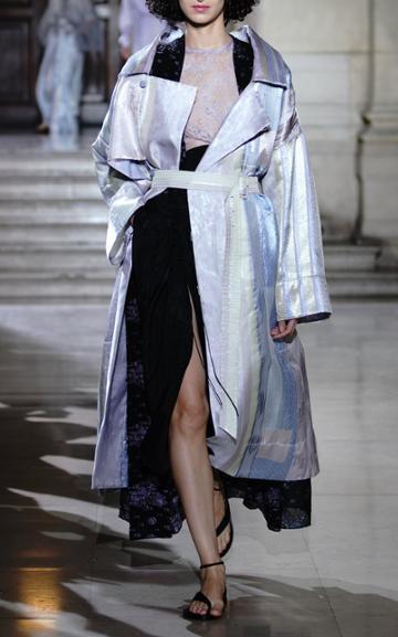 Mame Kurogouchi Gathered Silk Blend Midi Skirt