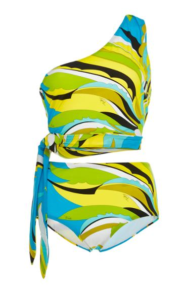 Emilio Pucci One-shoulder Printed One-piece Swimsuit