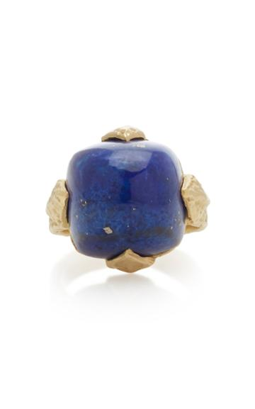 Rush Jewelry Design Icon Geo 18k Yellow Gold Lapis Dome Ring