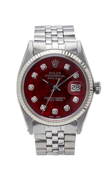 Vintage Watches Rolex Datejust Red Pearlized Diamond Dial