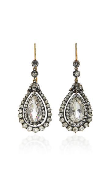 Simon Teakle Antique Pear-shape Diamond Earrings