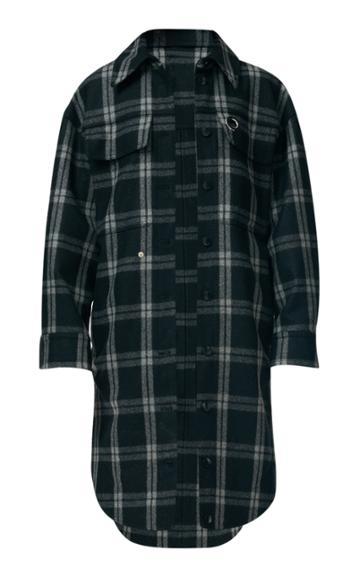 Tibi Chester Plaid Oversized Wool-blend Shirt Coat