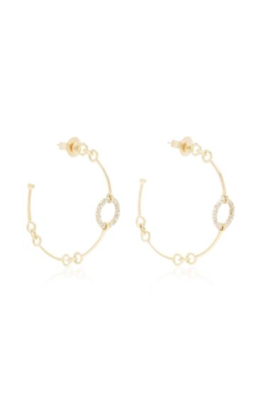 Rush Jewelry Design 18k Yellow Gold And Diamond Chain Hoop Earrings