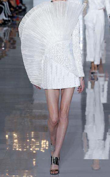 Balmain Asymmetric Pleated Silk Dress