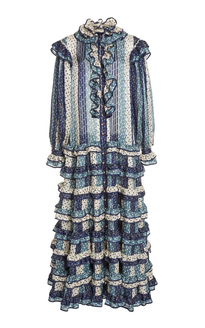 Moda Operandi Zimmermann Lucky Ruffled Midi Dress