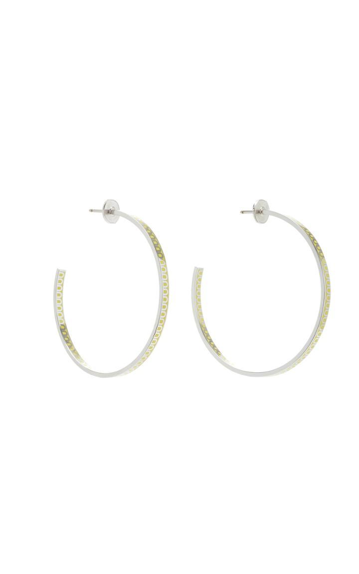 Davidor L'arc 18k White Gold Hoop Earrings