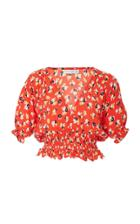 Faithfull The Brand First Light Smocked Floral-print Silk Top