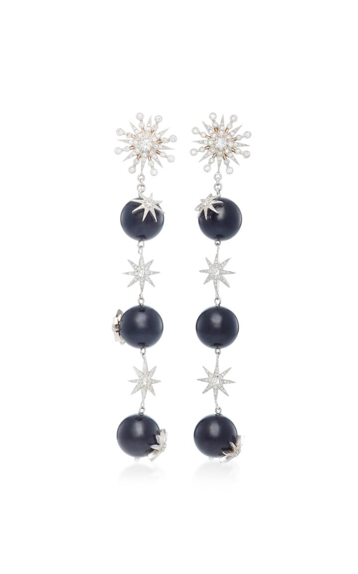 Colette Jewelry Starburst 18k White Gold, Diamond And Agate Earrings