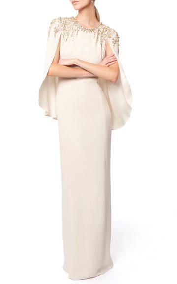 Moda Operandi Jenny Packham Romantica Crepe Caped Gown