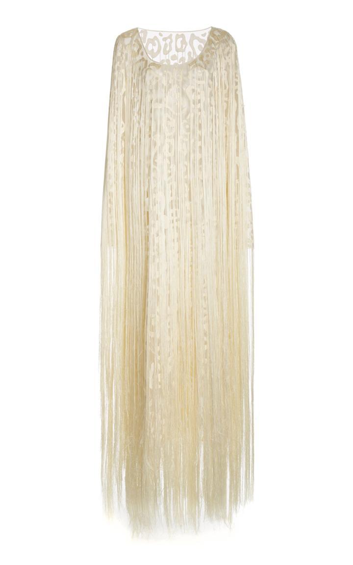 Moda Operandi Marina Moscone Fringed Silk-blend Midi Dress