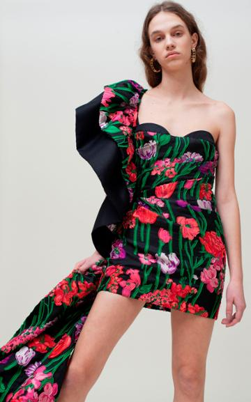 Moda Operandi Sandra Mansour Fleur Qui Rve Ruched Floral Organza Dress