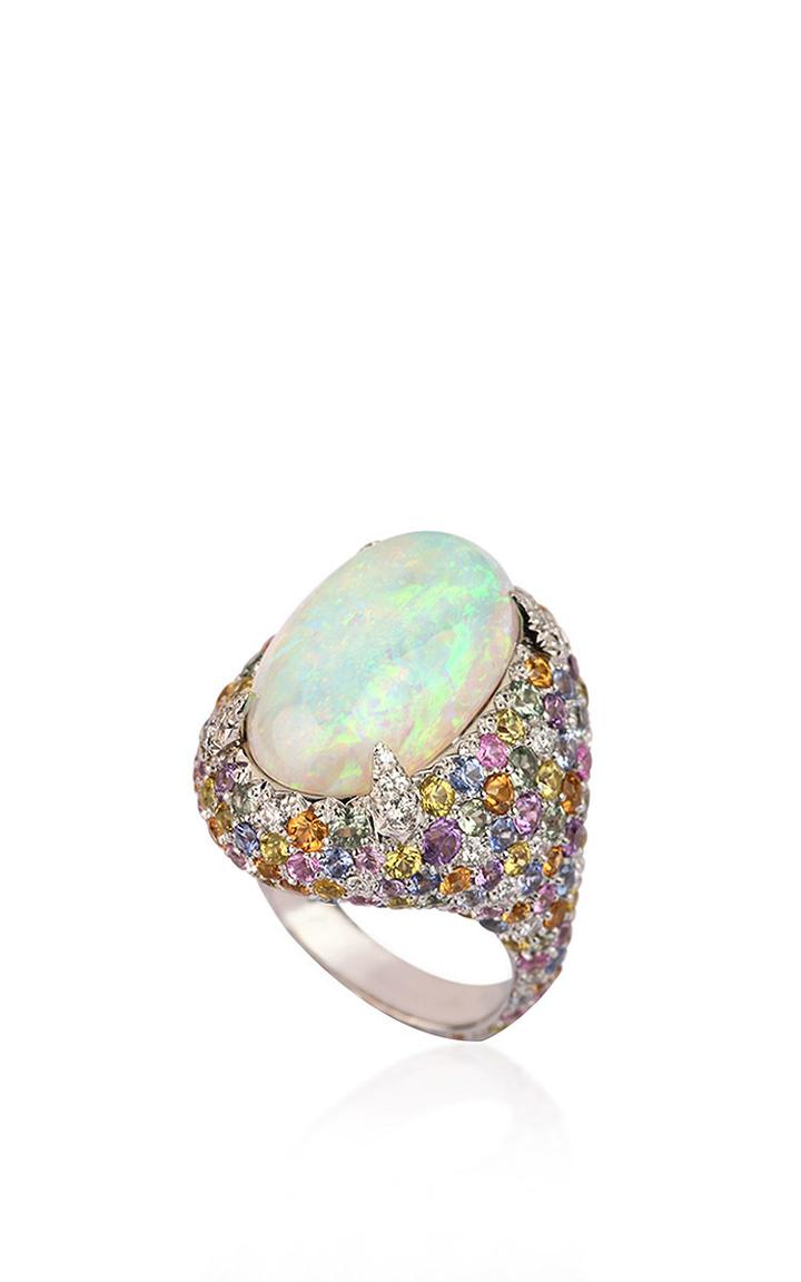 Fabio Salini Ring With Opal, Pav-set Fancy Sapphires, Diamonds And White Gold