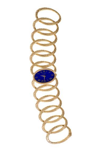 Mahnaz Collection Vintage Lapis Lazuli & 18k Gold 'esclave' Oval Link Bracelet Watch