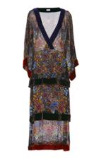 Warm Printed Velvet-trimmed Printed Chiffon Dress