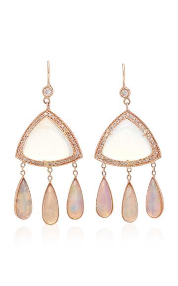 Jacquie Aiche Diamond Moonstone Triangle And Opal Teardrop Earrings