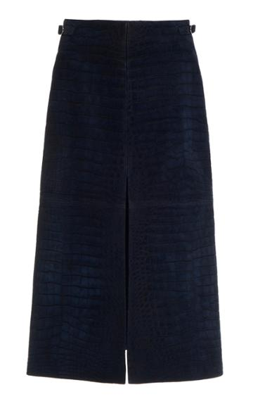 Gabriela Hearst Morelos Alligator-effect Midi Skirt