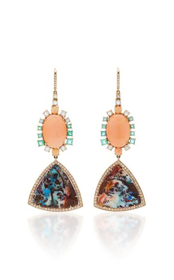 Nina Runsdorf M'o Exclusive One-of-a-kind Yahwah Opal And Coral Earrings