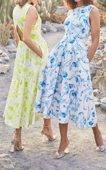 Moda Operandi Monique Lhuillier Printed Linen Midi Dress