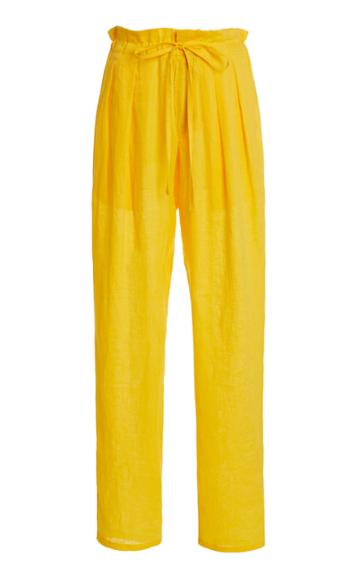 Monitaly Drop-rise Pleated Linen Drawstring Pants