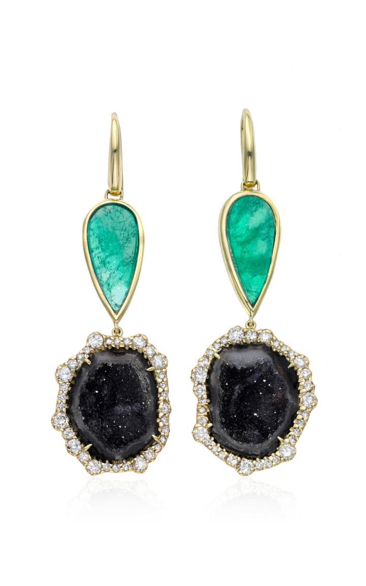 Moda Operandi Kimberly Mcdonald X Muzo 18k Yellow Gold And Muzo Emerald Earrings